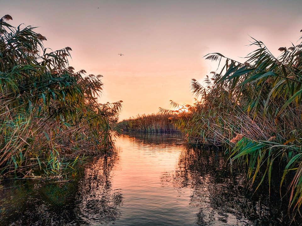 Apusul pe canalele deltei Comana, pe SUP